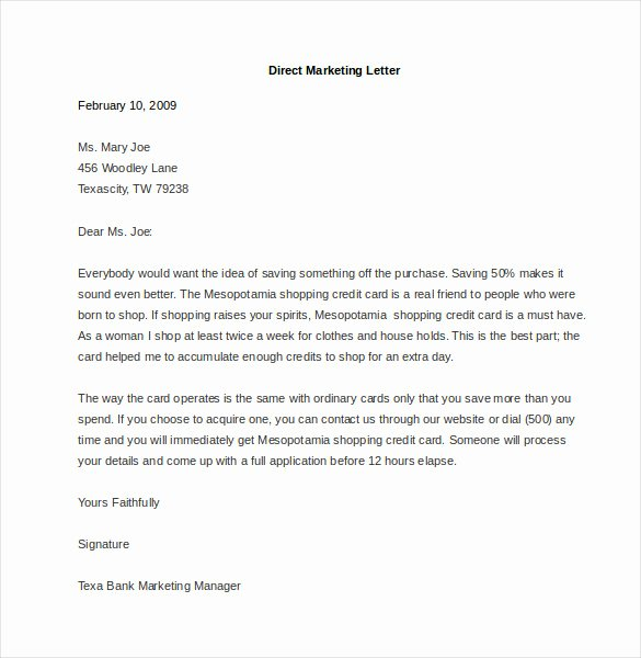 Direct Mail Letter Template Lovely Marketing Letter Template 38 Free Word Excel Pdf