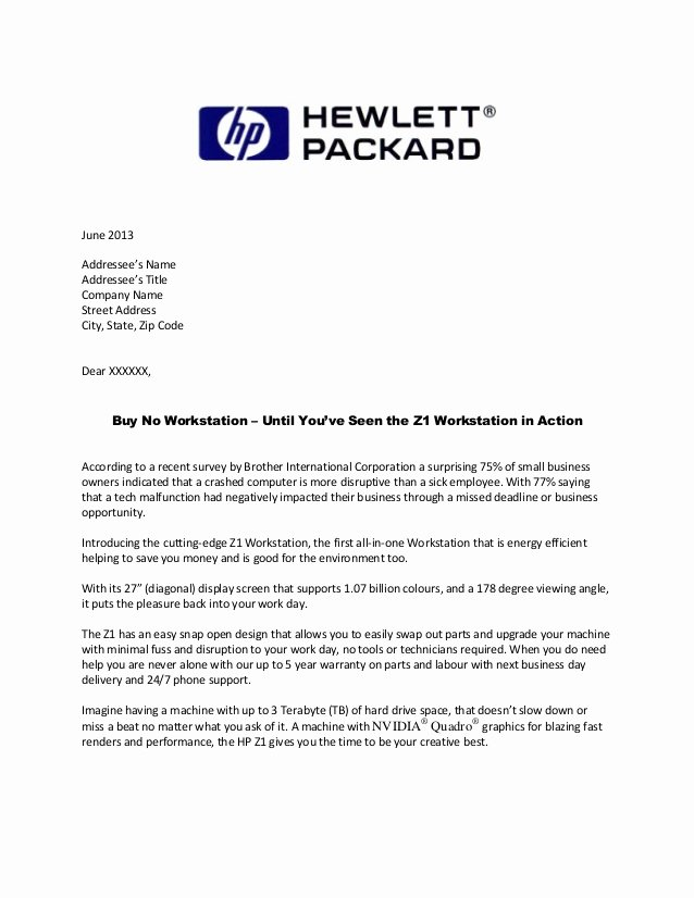 Direct Mail Letter Template New Hp Direct Mail Letter