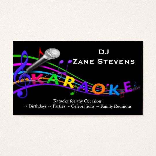 Dj Business Card Template Awesome Dj Karaoke Business Card Template