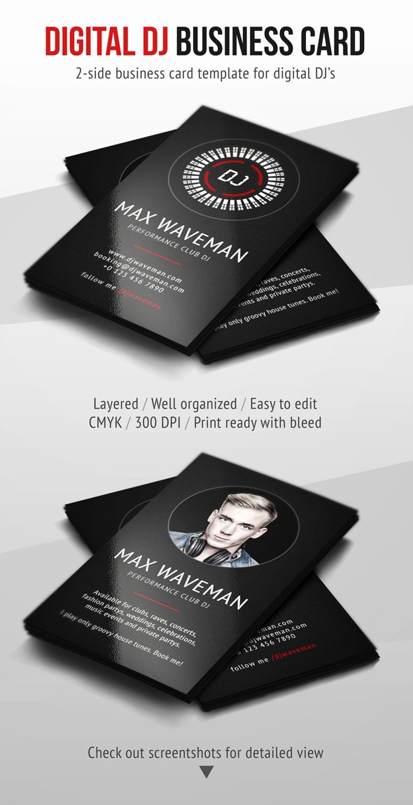 Dj Business Card Template Inspirational Digital Dj Business Card Psd Template by Iamvinyljunkie On