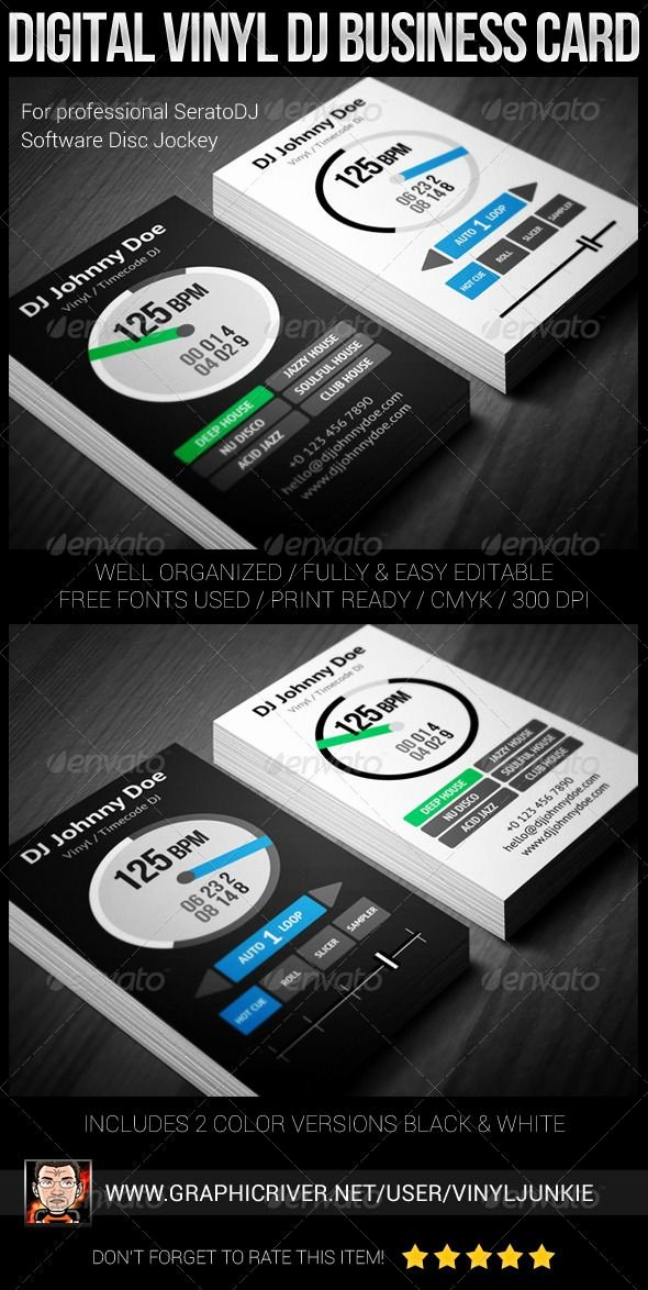 Dj Business Cards Template Awesome Digital Vinyl Dj Business Card