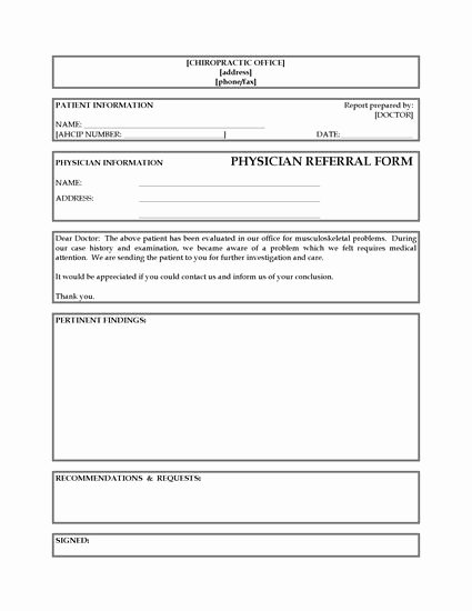 Doctor Referral form Template Elegant Referral form From Chiropractor to Physician