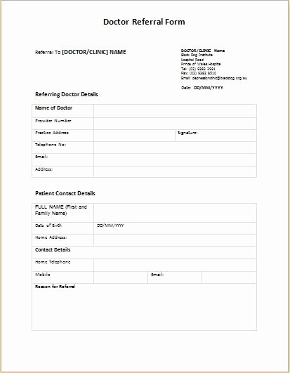 Doctor Referral form Template Inspirational Doctor Referral form Templates