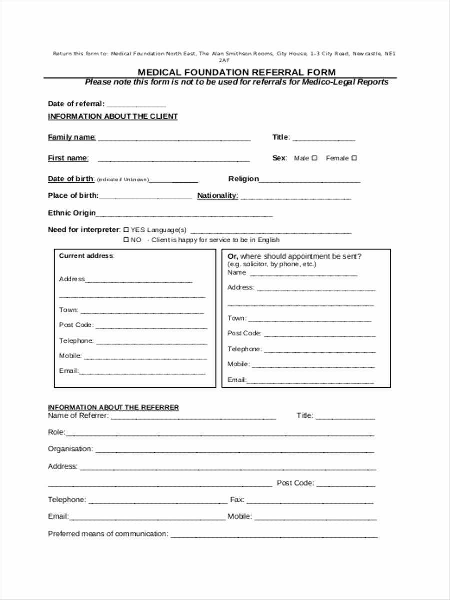 Doctor Referral form Template Unique Medical Referral form 8 Free Documents In Word Pdf