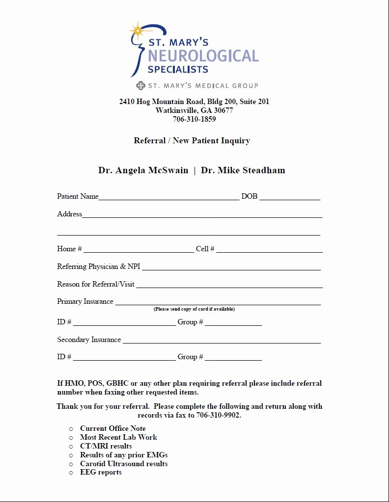Doctor Referral form Template Unique Medical Referral form – Templates Free Printable