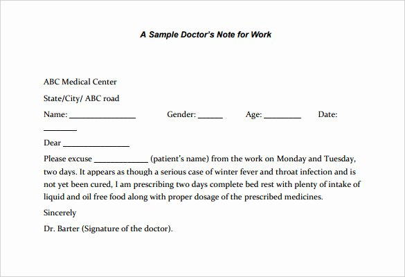 Doctors Notes for Work Template Beautiful 22 Doctors Note Templates Free Sample Example format