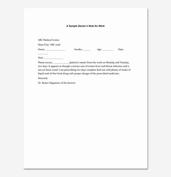 Doctors Notes for Work Template Elegant Doctors Note Template 7 Fillable Notes for Word & Pdf