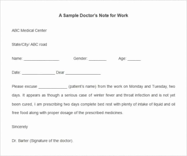 Doctors Notes for Work Template Fresh 28 Doctors Note Templates Pdf Doc