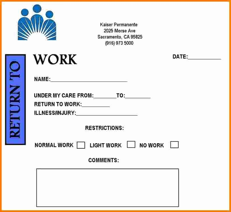 Doctors Notes for Work Template Fresh Free Printable Doctors Note for Work