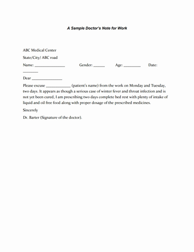 Doctors Notes for Work Template Lovely Doctors Note for Work Template Download Create Fill and