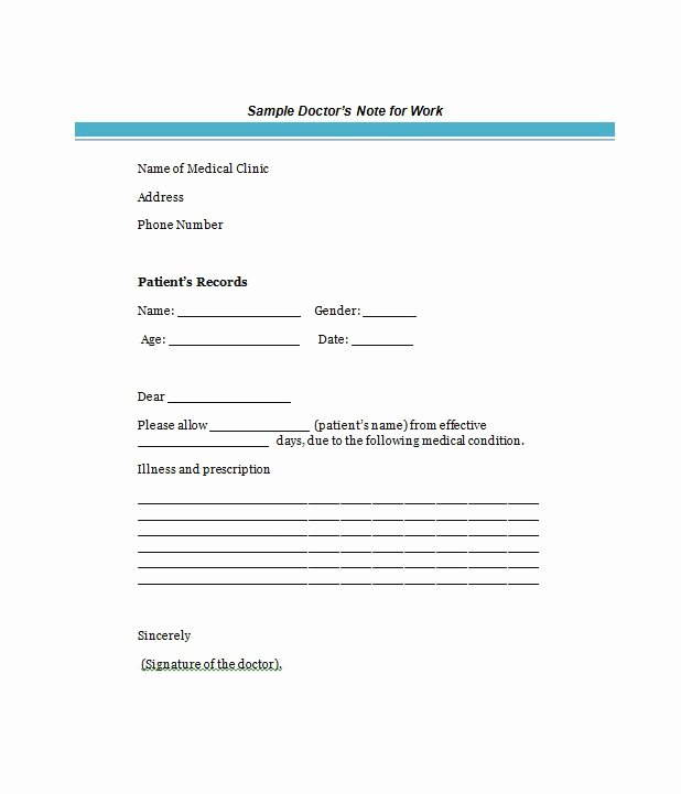 Doctors Notes for Work Template Luxury 25 Free Doctor Note Excuse Templates Template Lab