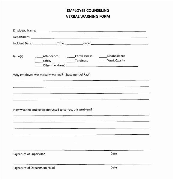 Documenting Employee Performance Template Lovely Sample Verbal Warning Template 6 Documents In Pdf
