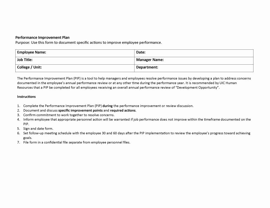 Documenting Employee Performance Template New 41 Free Performance Improvement Plan Templates & Examples