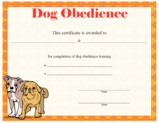 Dog Training Certificate Template Beautiful This Printable Certificate Of Dog Training or Achievement