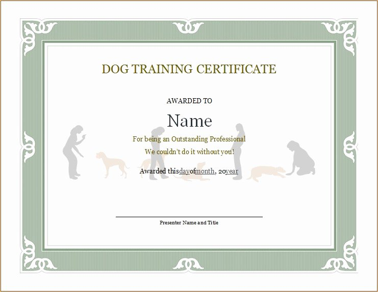 Dog Training Certificate Template Best Of Dog Training Certificate