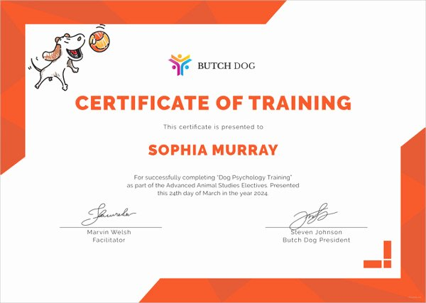 Dog Training Certificate Template Inspirational 27 Training Certificate Templates Doc Psd Ai