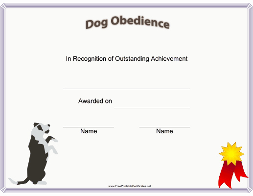 Dog Training Certificate Template New This Printable Certificate Of Dog Training or Achievement