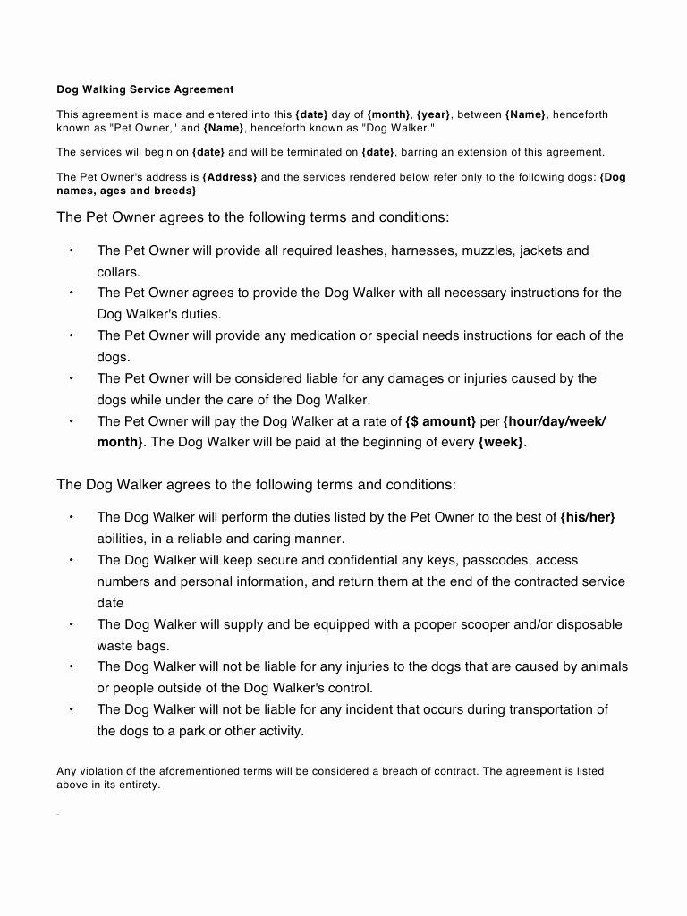 Dog Training Contract Template Inspirational Contract Dog Walking Contract Template