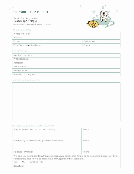 Dog Training Contract Template Lovely Instructions for Pet Sitter