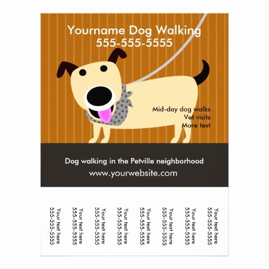 Dog Walking Flyer Template Awesome Dog Walker S Flyer with Tear Off Tags