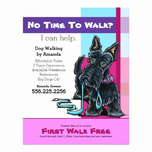 Dog Walking Flyer Template Awesome Dog Walker Scottie Plaid Discount Coupon Ad Flyer Design