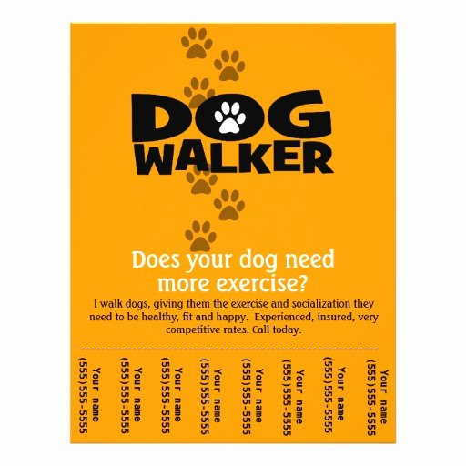 Dog Walking Flyer Template Awesome Dog Walking Business Tear Sheet Flyer Template