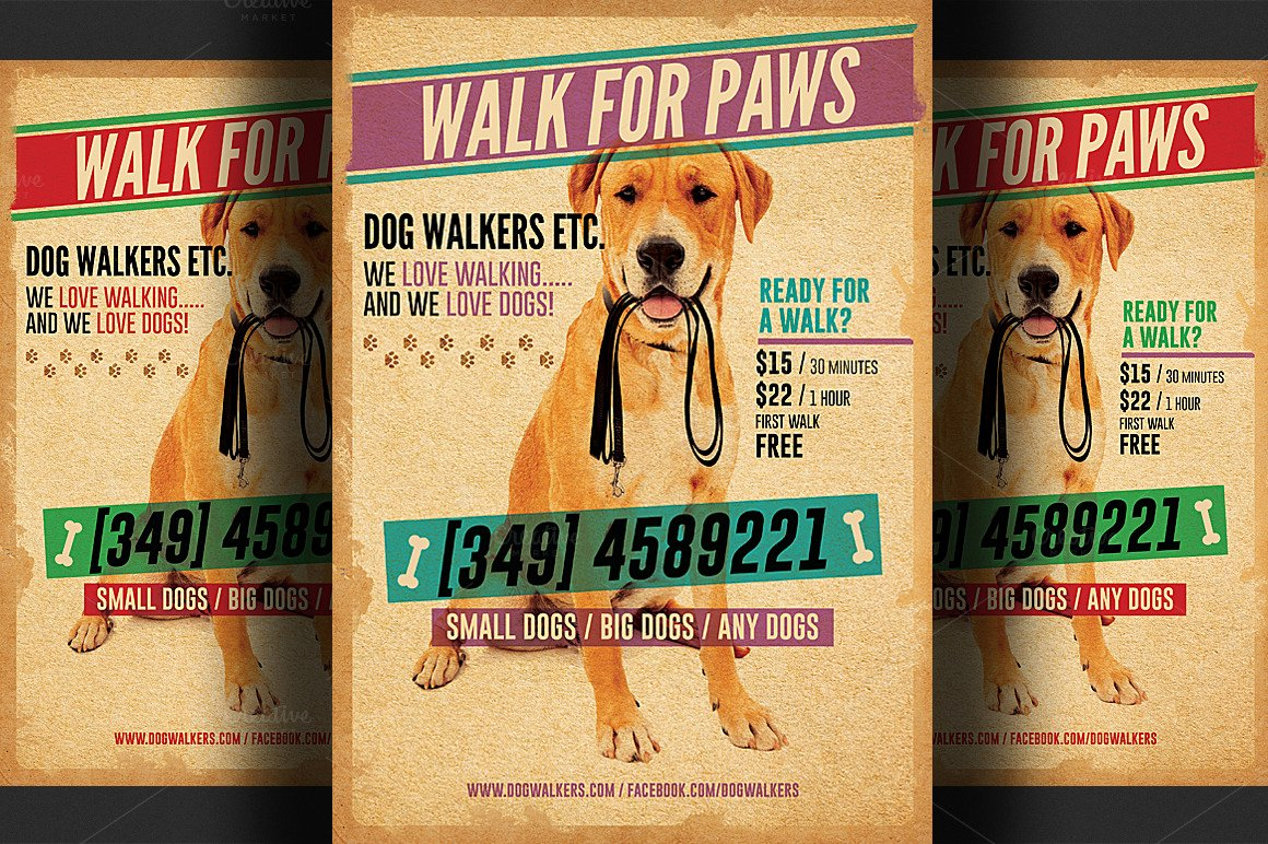 Dog Walking Flyer Template Beautiful Dog Walkers Flyer Template 2 Flyer Templates On Creative