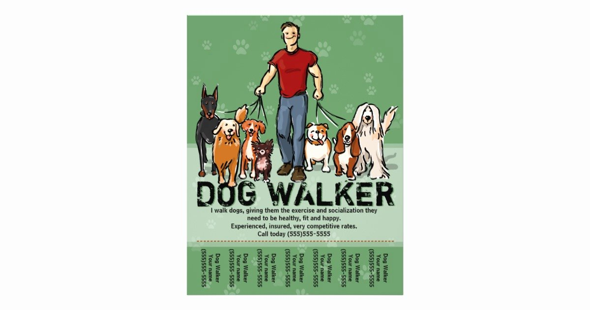 Dog Walking Flyer Template Best Of Dog Walker Dog Walking Guy Grn Promotemplate Flyer