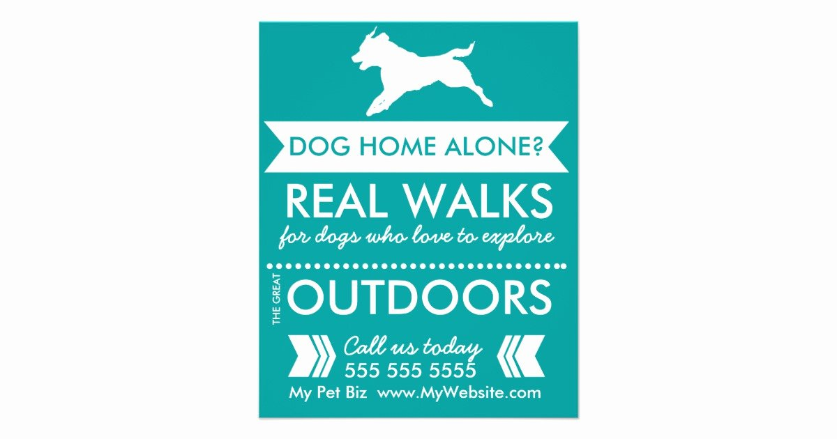 Dog Walking Flyer Template Elegant Dog Walker Flyer Personalizable