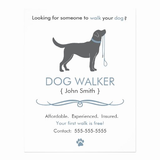 Dog Walking Flyer Template Fresh Dog Walker Walking Business Flyer Template