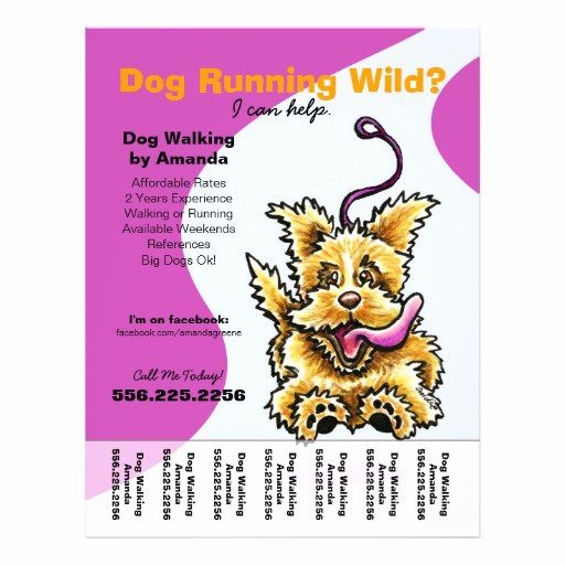 Dog Walking Flyer Template Lovely Dog Walker Walking Leashed Terrier Tear Sheet Flyer