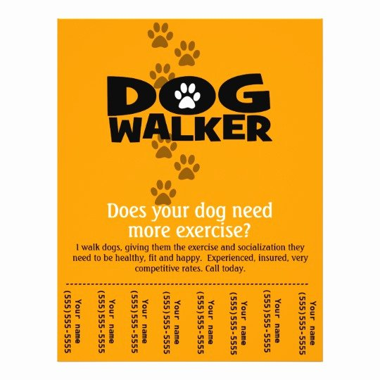 Dog Walking Flyer Template Lovely Dog Walking Business Tear Sheet Flyer Template