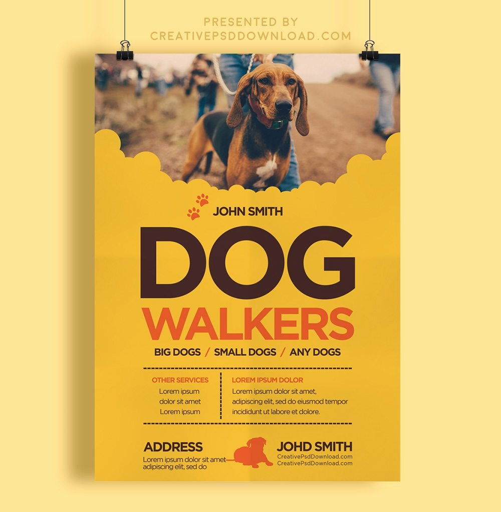 Dog Walking Flyer Template Luxury Creative Dog Walkers Flyer Template