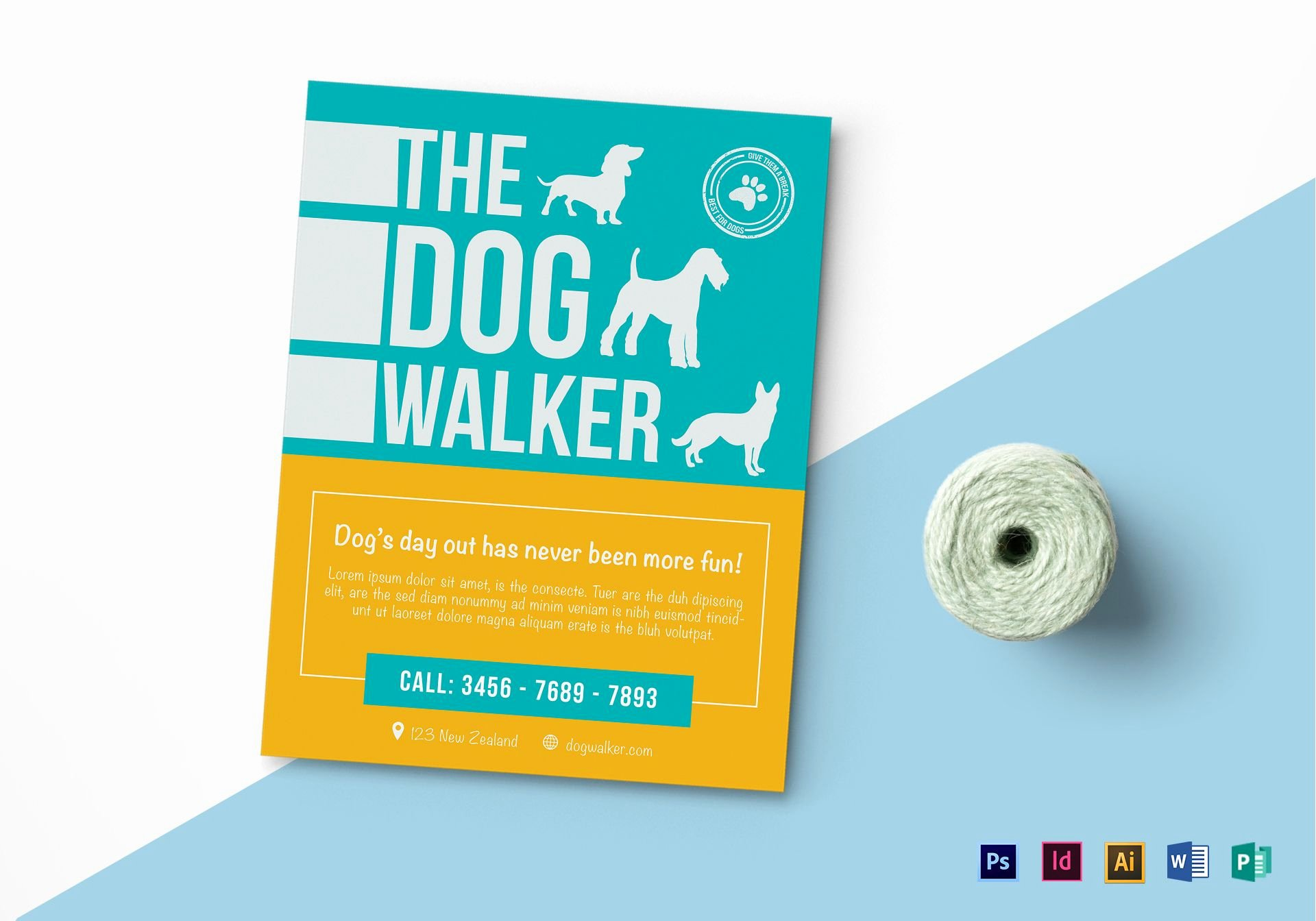 Dog Walking Flyer Template Luxury Dog Walker Flyer Design Template In Psd Word Publisher