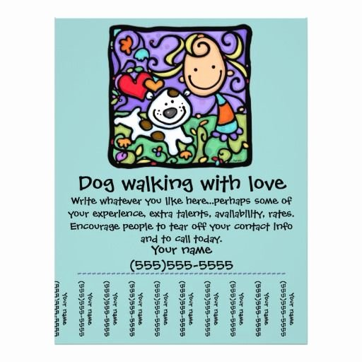 Dog Walking Flyer Template Luxury Littlegirlie Dog Walk Sitting Tear Sheet Flyer