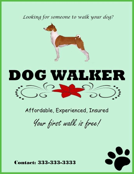 Dog Walking Flyer Template New Experienced Dog Walker Template