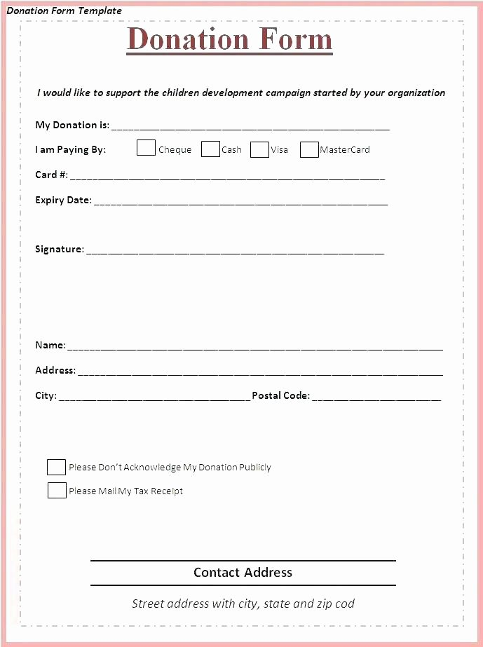 Donation form Template Word Beautiful Donation form Sample Printable Free forms Template