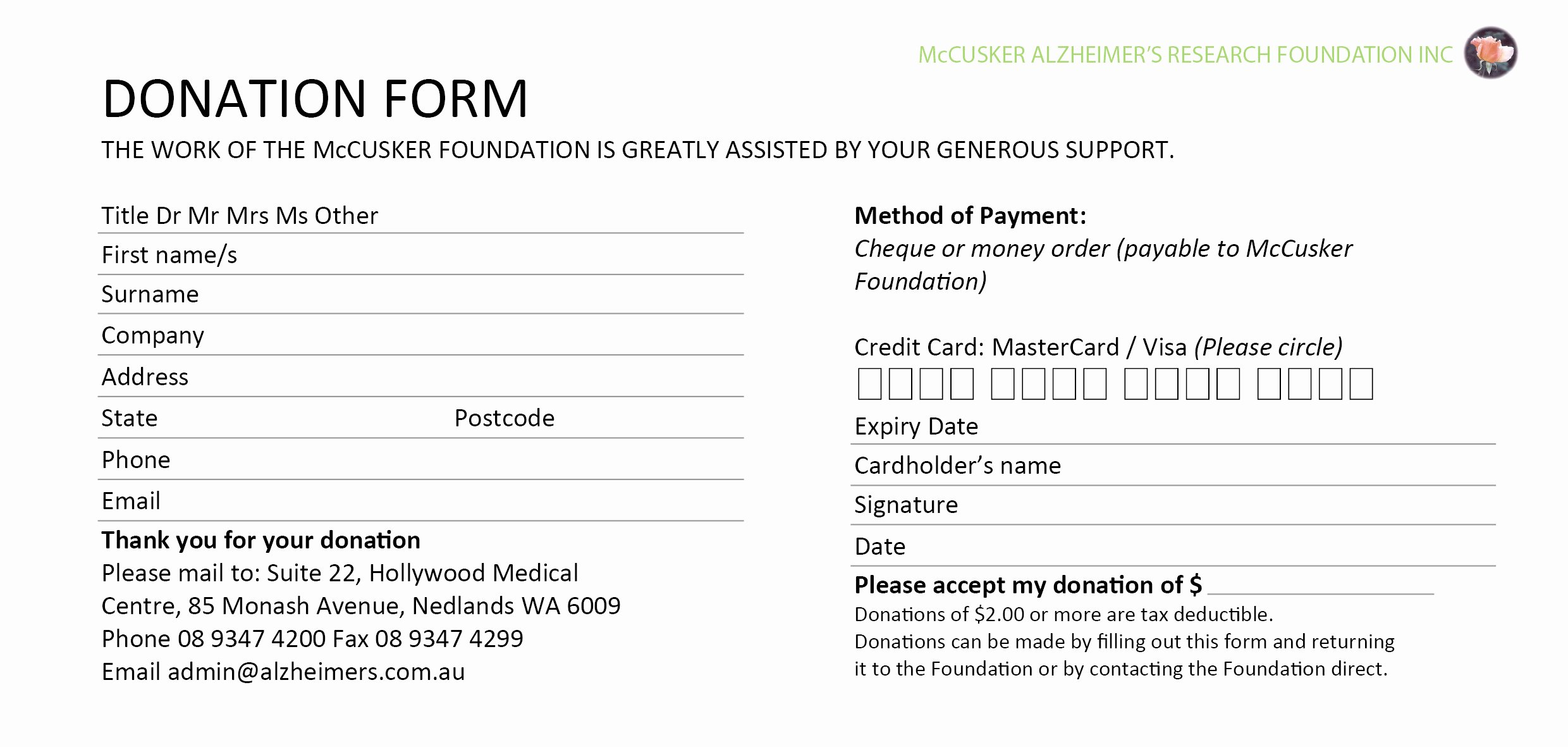 Donation form Template Word Best Of 6 Donation form Templates Excel Pdf formats