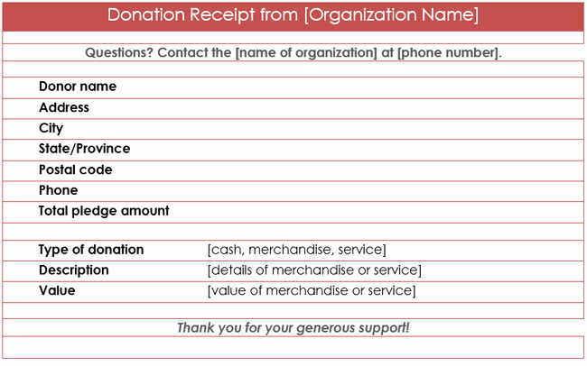Donation form Template Word Fresh Donation Receipt Template 12 Free Samples In Word and Excel