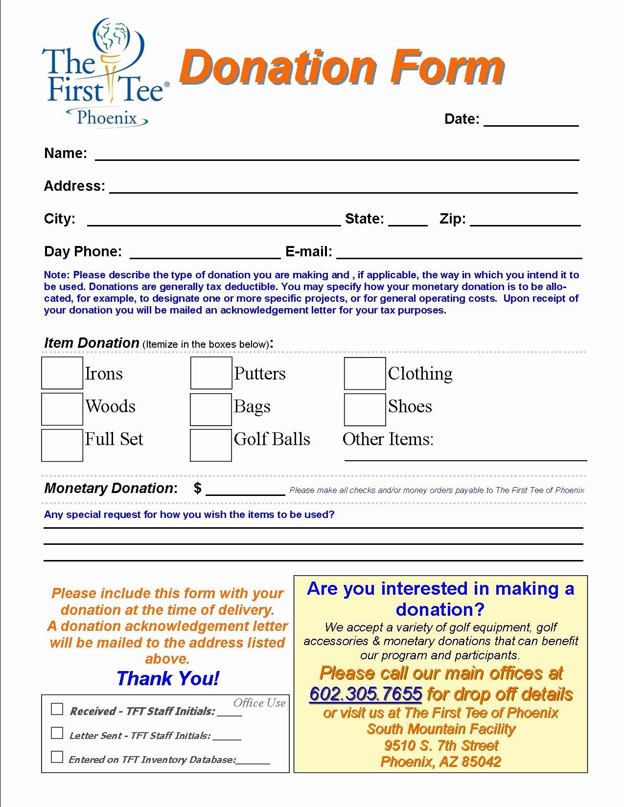 Donation form Template Word Inspirational Generic Donation form Portablegasgrillweber
