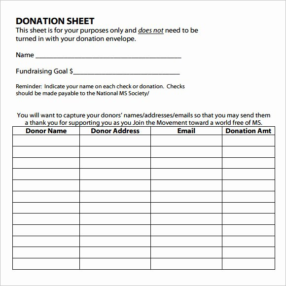 Donation form Template Word Luxury Sample Donation Sheet 9 Documents In Pdf Word
