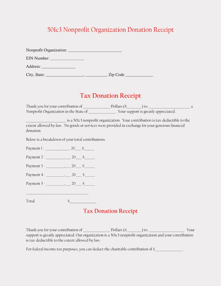 Donation Receipt Template for 501c3 Elegant 45 Free Donation Receipt Templates & formats Docx Pdf