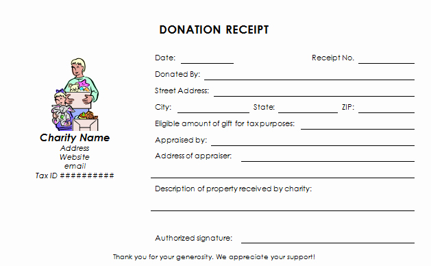 Donation Receipt Template for 501c3 Lovely Donation Receipt Template