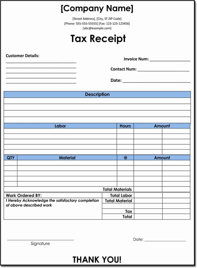 Donation Tax Receipt Template Fresh 10 Tax Receipt Templates Donation Tax In E Tax