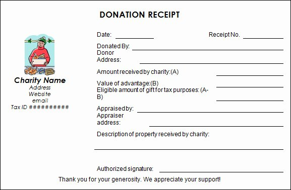 Donation Tax Receipt Template Fresh Charitable Donation Receipt form Template Templates
