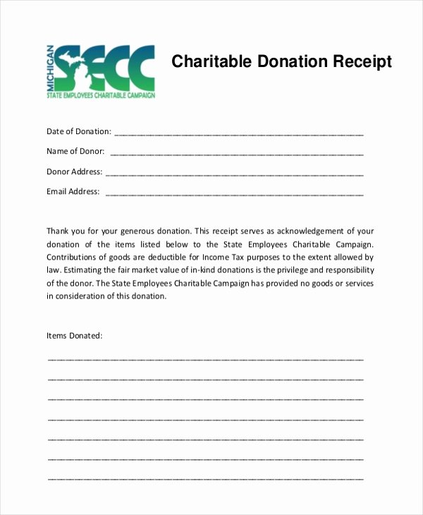 Donation Tax Receipt Template Lovely Sample Donation Receipt form 8 Free Documents In Pdf
