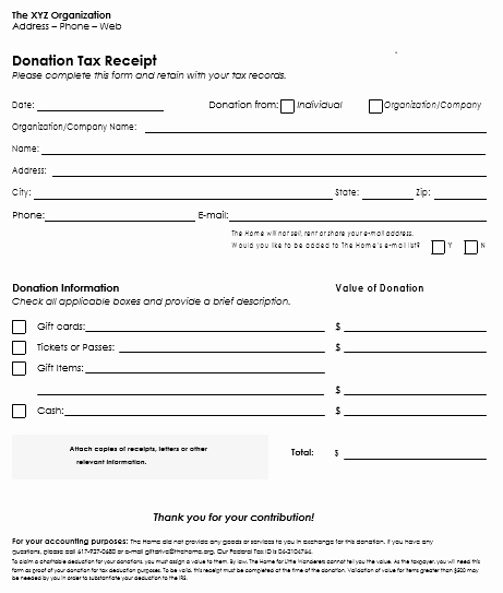 Donation Tax Receipt Template Unique Donation Receipt Template 12 Free Samples In Word and Excel