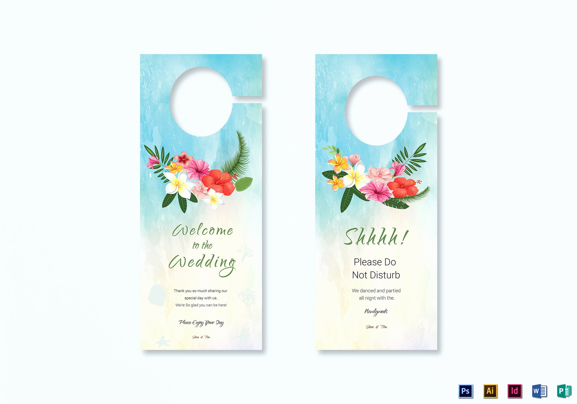 Door Hanger Design Template Inspirational Beach Wedding Door Hanger Template In Psd Word Publisher