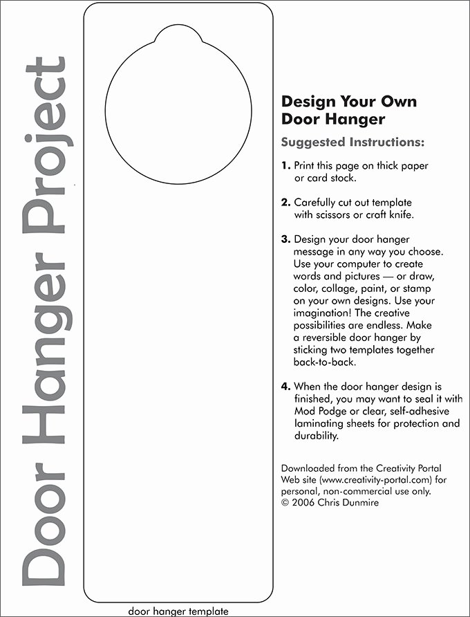 Door Hanger Design Template New Door Knob Hanger Template Pdf Templates Resume
