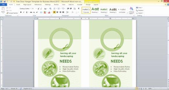 Door Hanger Template Microsoft Word Elegant Free Door Hanger Template for Business Word 2013